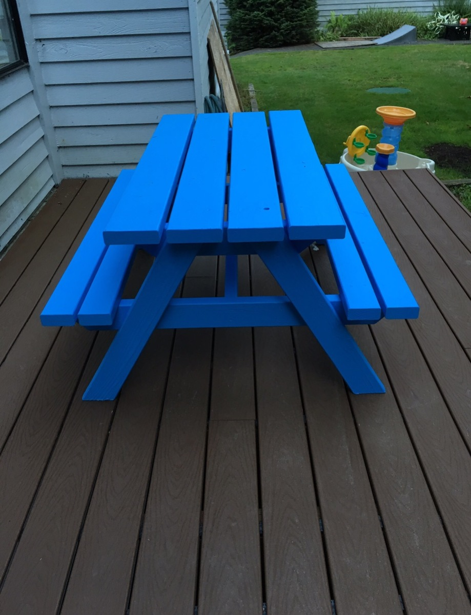Ana White Blue Big Kids Picnic Table Diy Projects