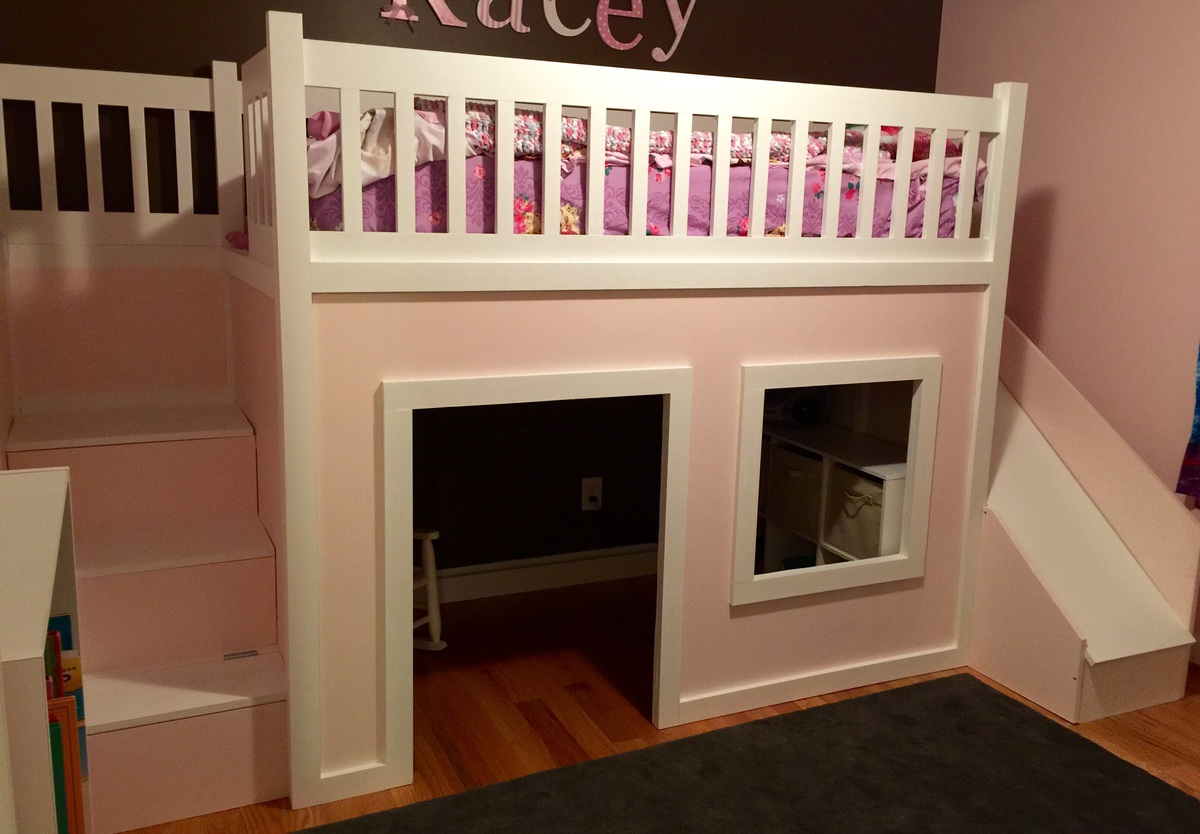 Playhouse Loft Bed With Stairs And Slide Ana White