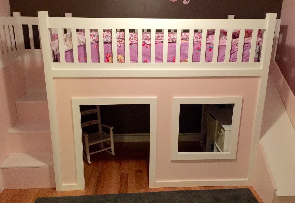 ana white | playhouse loft bed with stairs and slide - diy projects