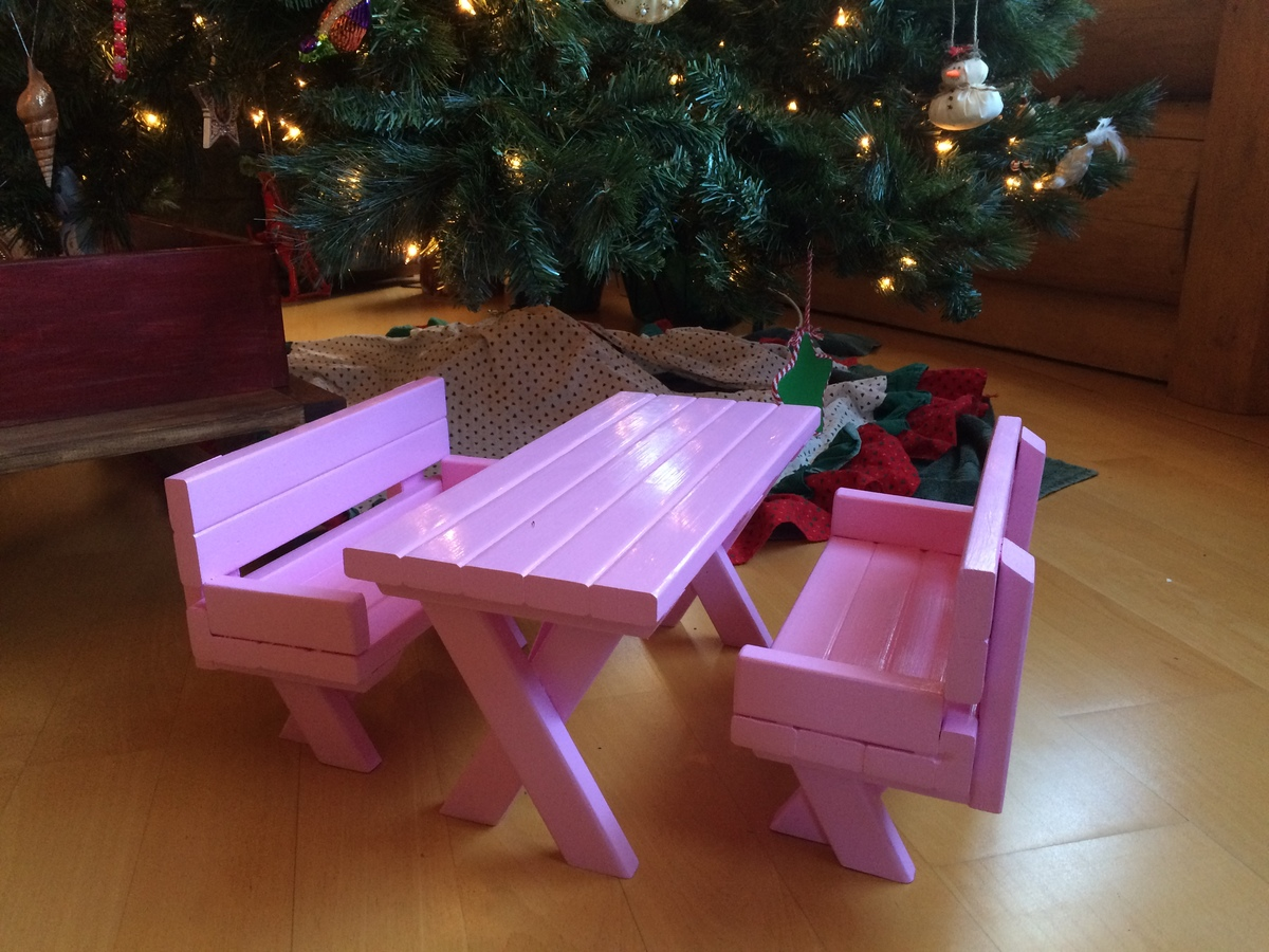 Ana white doll x picnic table and bench set diy projects for Ana white table bench