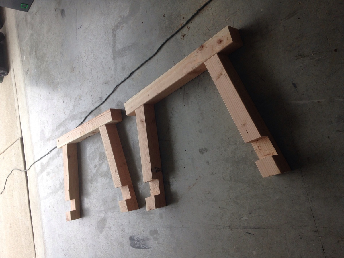 Ana white 4x4 truss beam table with half lap joints for Table joints