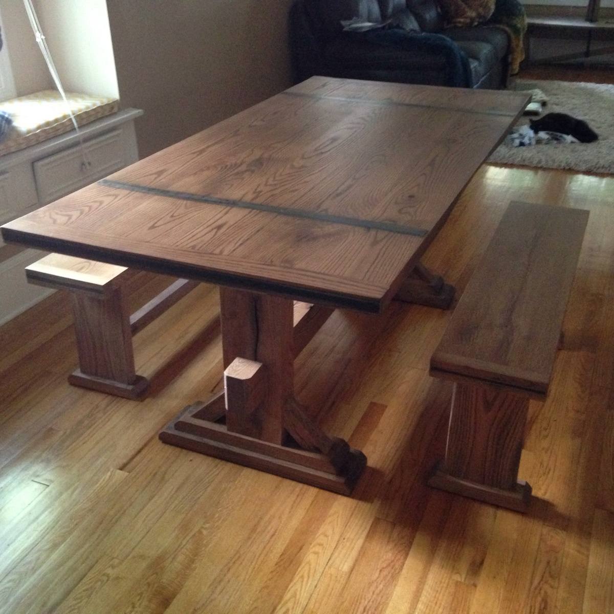 Ash Trestle Table With Benches