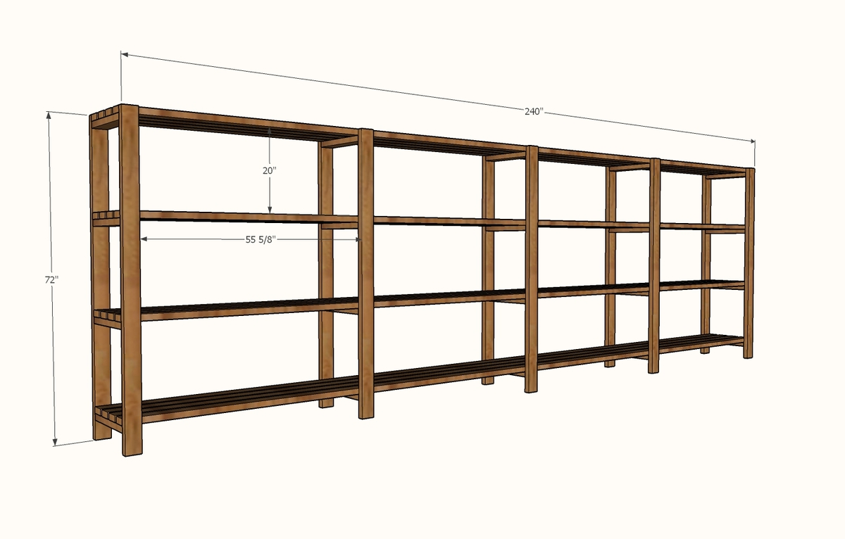 Free standing garage shelf plans quick woodworking projects for Garage plans with storage