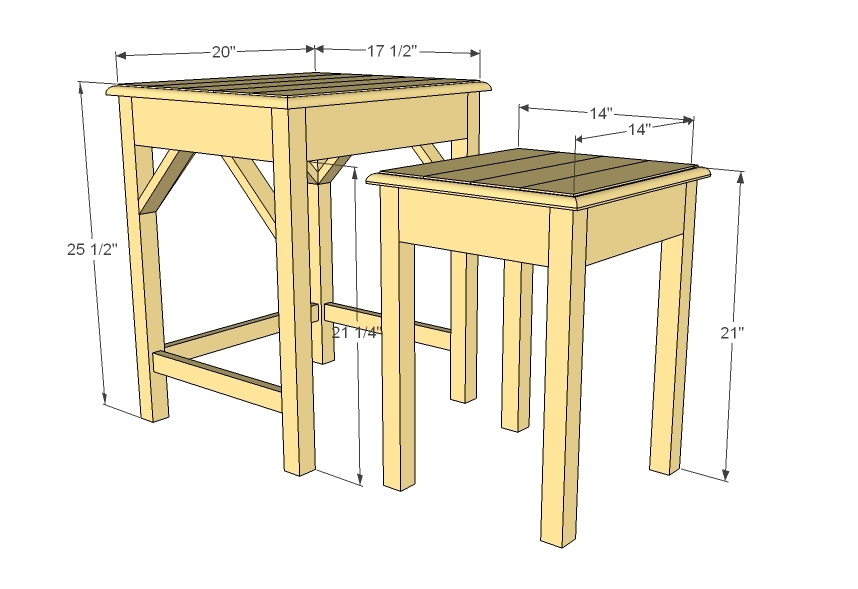 Classroom Furniture Dimensions ~ Ana white preston nesting side tables diy projects