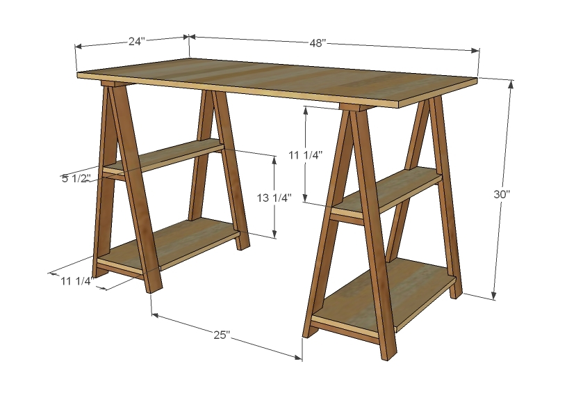... 1x3 Sawhorse Desk | Free and Easy DIY Project and Furniture Plans