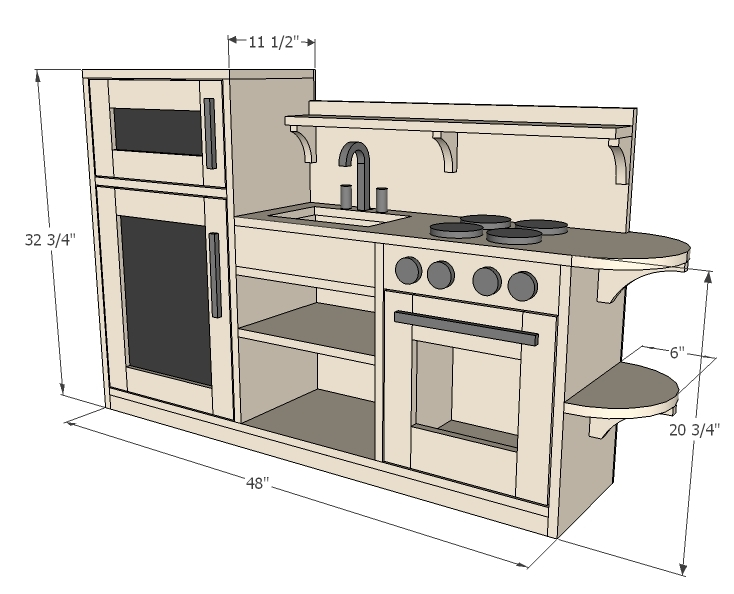 Wooden Play Kitchen Plans ana white | one piece play kitchen - diy projects