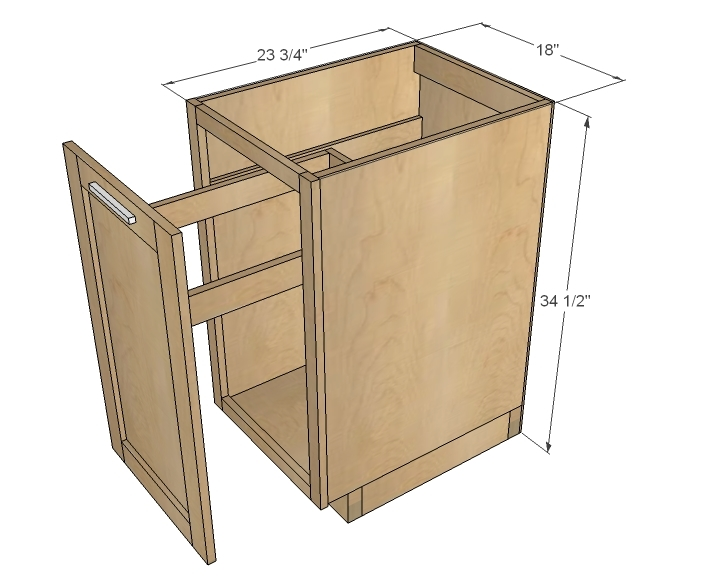 Ana White 18 Kitchen Base Cabinet Trash Pull Out Or Storage Cupboard With Door Diy Projects