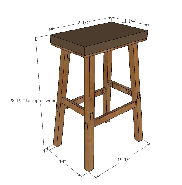 Ana White No Sew Cayden Nailhead Bar Height Stool Diy