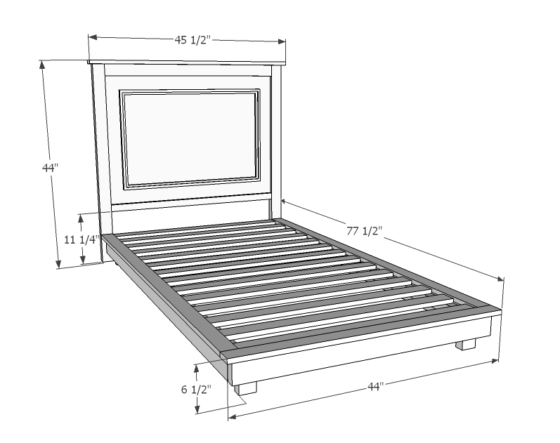 Ana White | Build a Fillman Platform Twin Platform Bed | Free and Easy ...