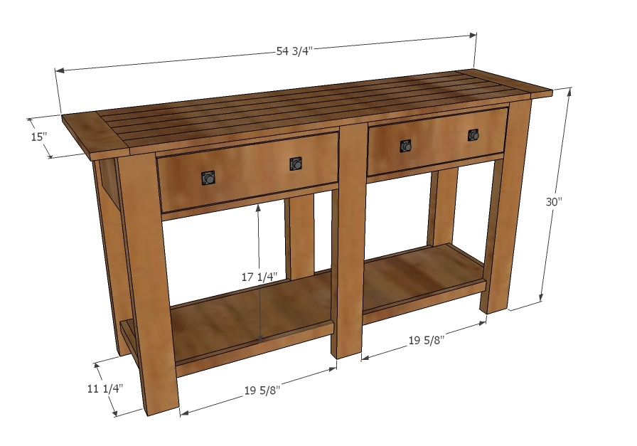 Entrance Foyer Dimensions : Ana white benchwright console table diy projects