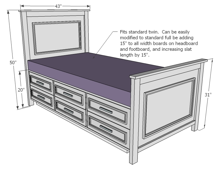 Ana White | Fillman Storage Bed with Drawers - DIY Projects