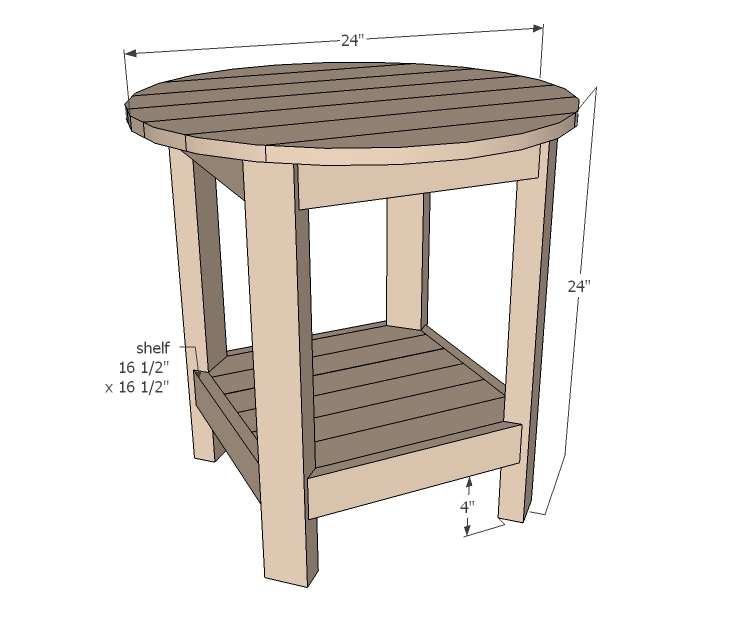 Ana White Benchright Round End Tables DIY Projects - White round bedside table