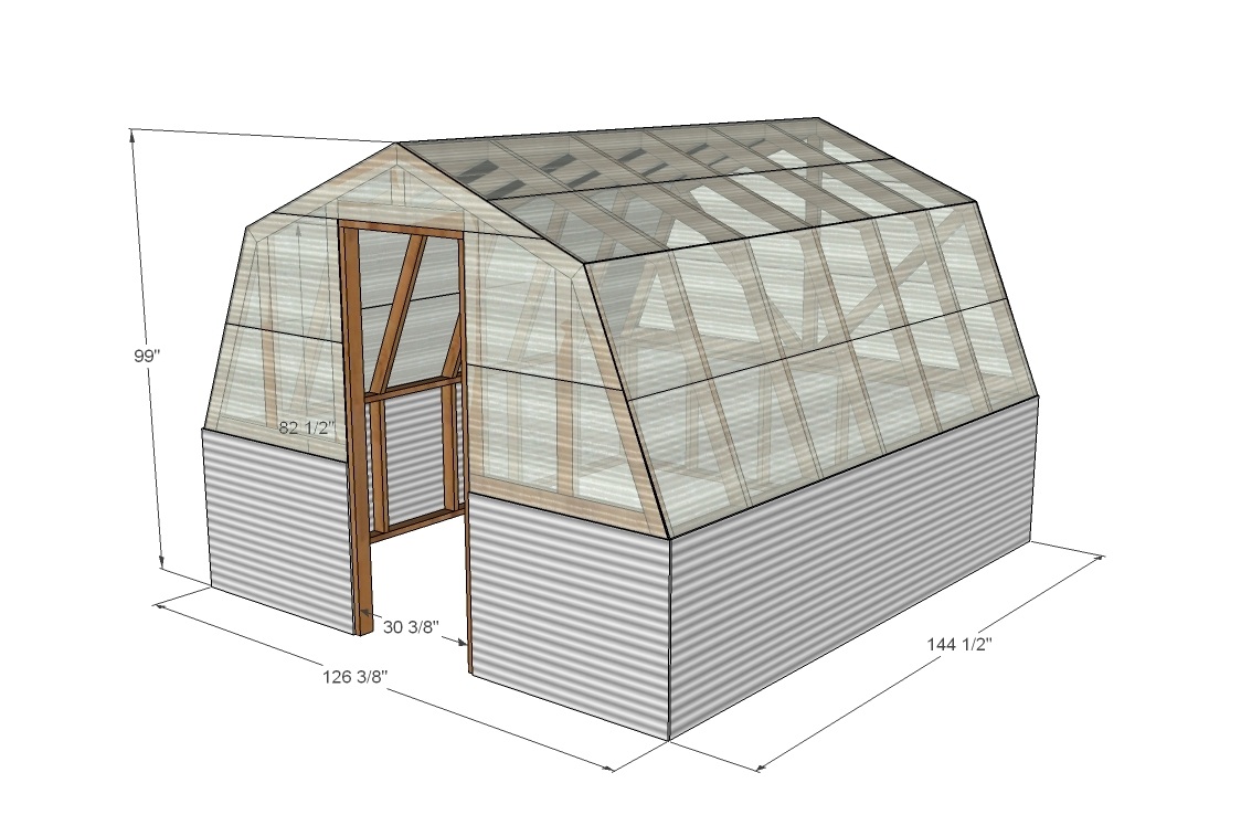 Ana white barn greenhouse diy projects Small green home plans