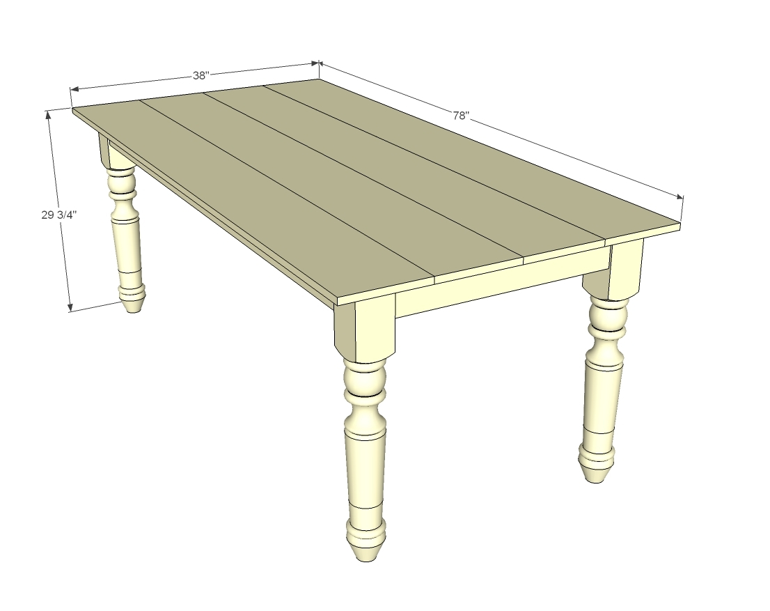 dimensions diagram of farmhouse table with turned legs