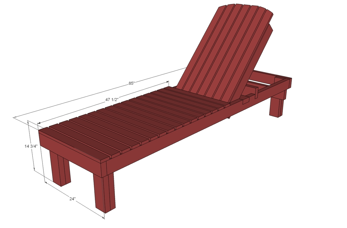dimensional diagram for wood chaise lounge