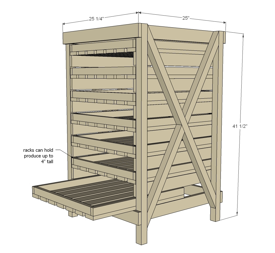 vegetable rack dimensions diagram