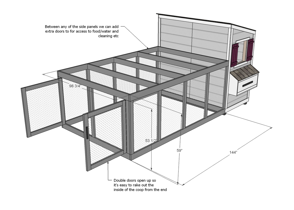Ana white chicken coop run for shed coop diy projects for Chicken run plans