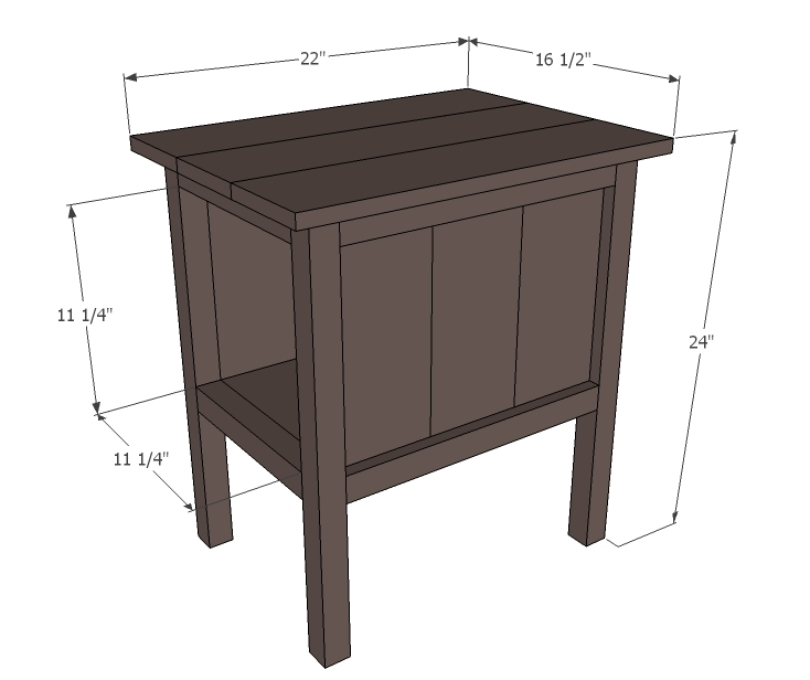 "End Table Dimensions Ana white build a ""tidy up"" end table free and ..."