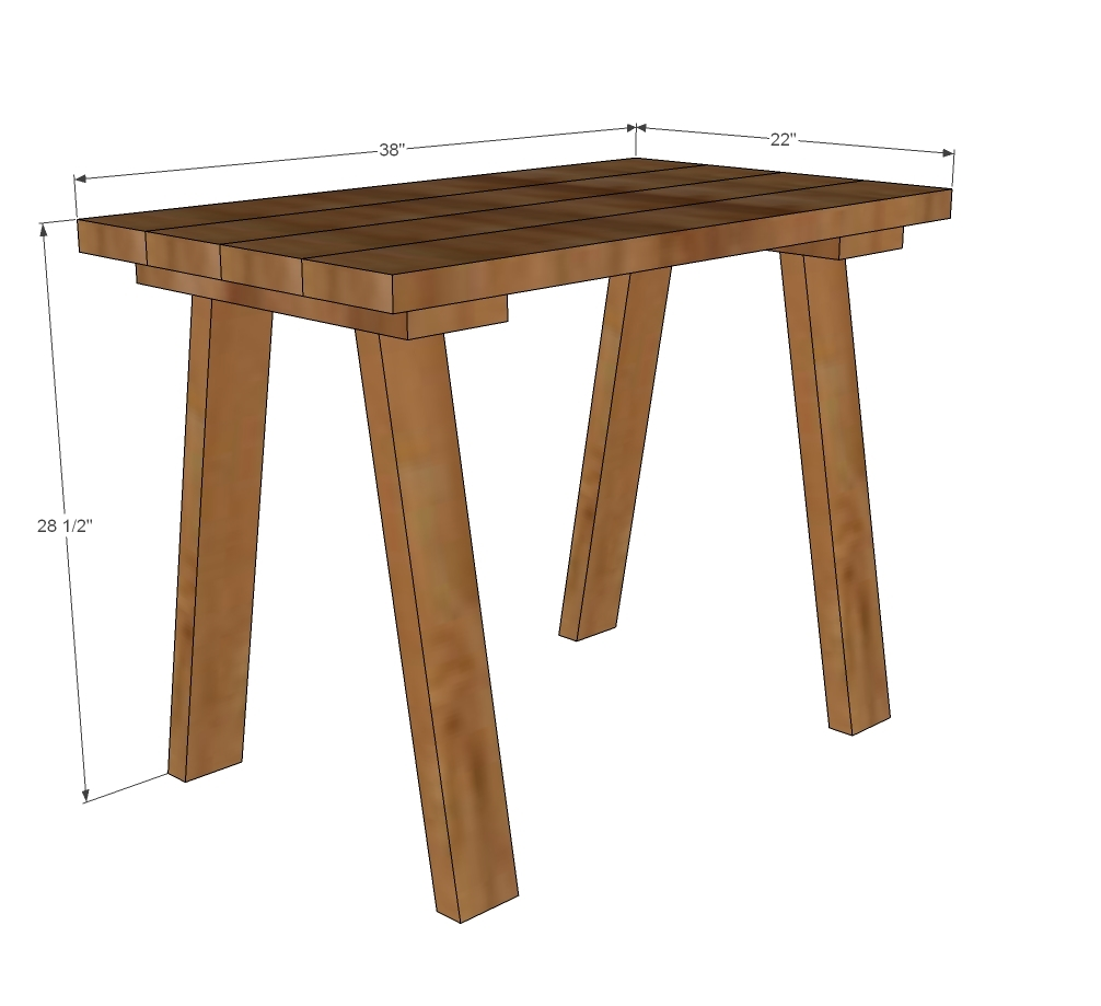 simple small trestle desk | ana white