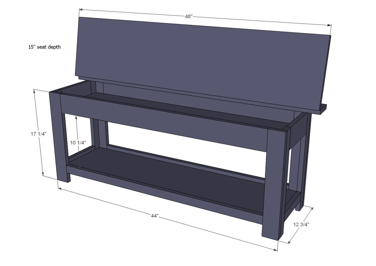 flip top storage bench dimensions