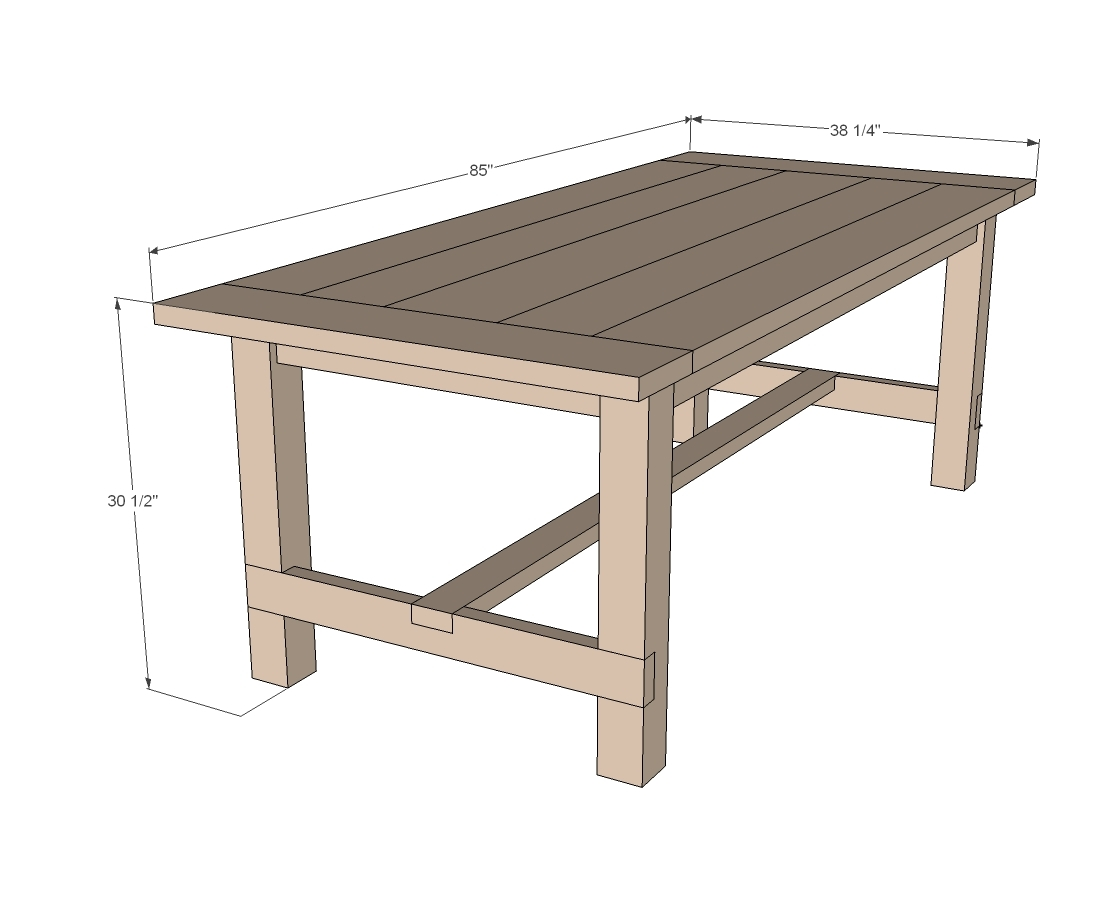 Ana white farmhouse table updated pocket hole plans for Table design for project