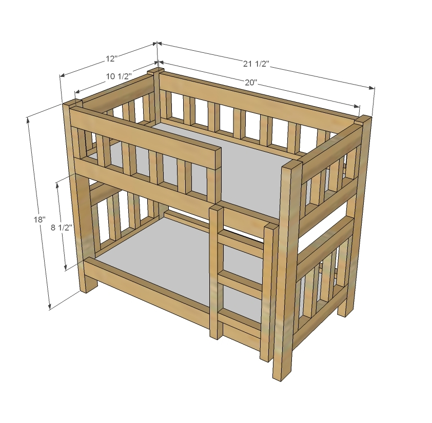 Ana White | Camp Style Bunk Beds for American Girl or 18 Dolls - DIY ...