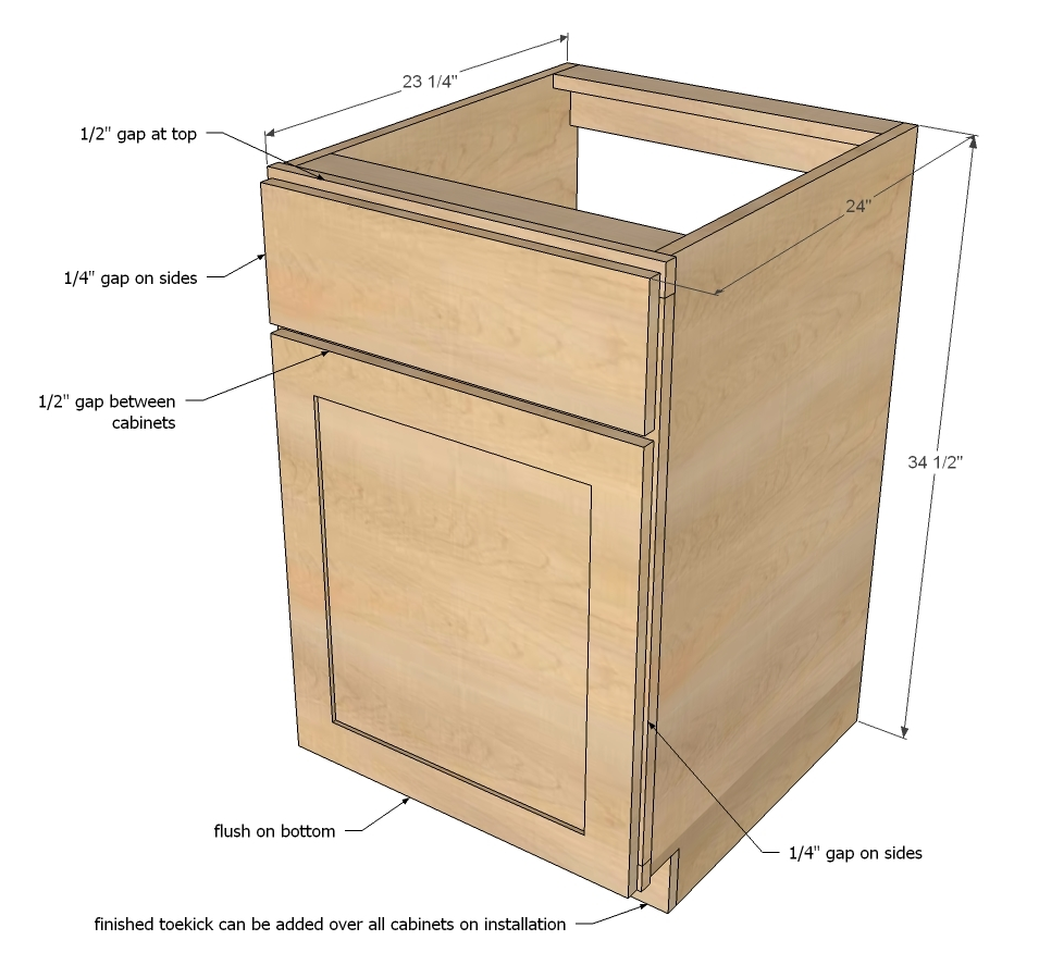 Kitchen Plans With Dimensions: Face Frame Base Kitchen Cabinet Carcass - DIY