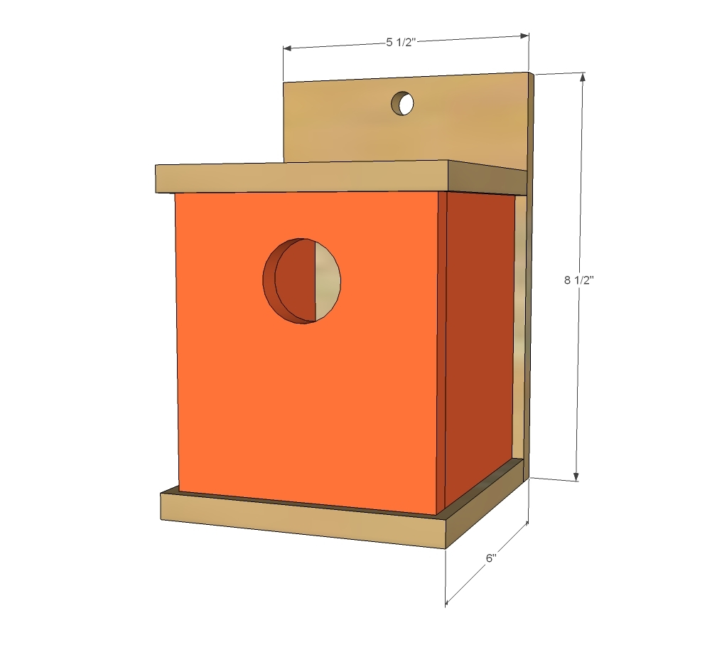 modern birdhouse dimensions from plans