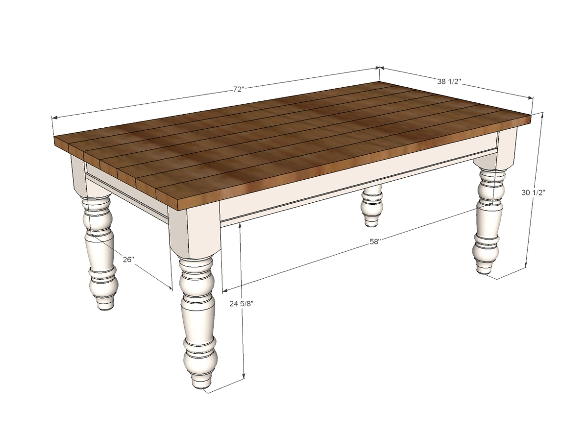 Ana white husky farmhouse table diy projects for Table design plans