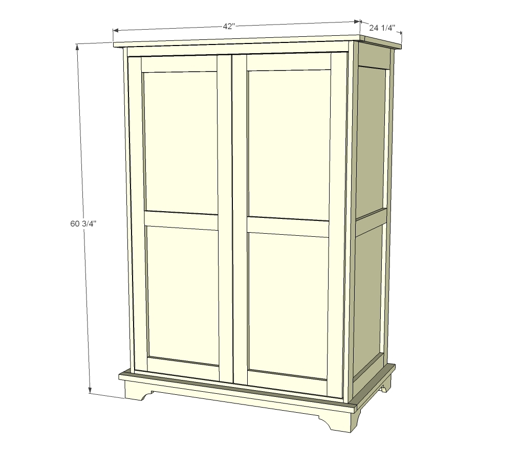 Ana white toy or tv armoire diy projects for Wardrobe cabinet design woodworking plans