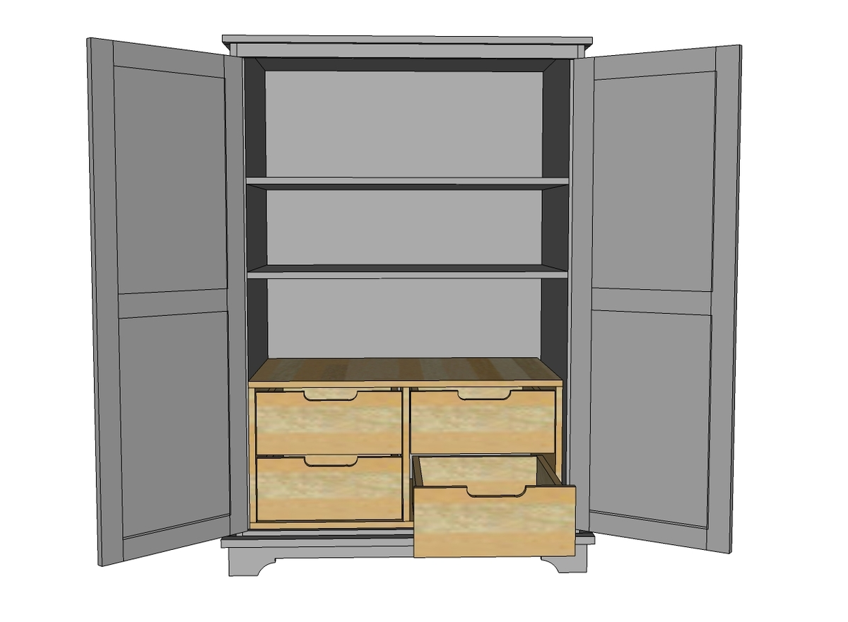 Ana white toy or tv armoire drawer insert diy projects Wardrobe cabinet design woodworking plans