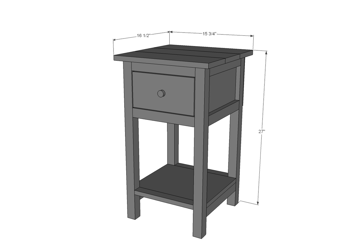 mini farmhouse bedside table plan dimensions