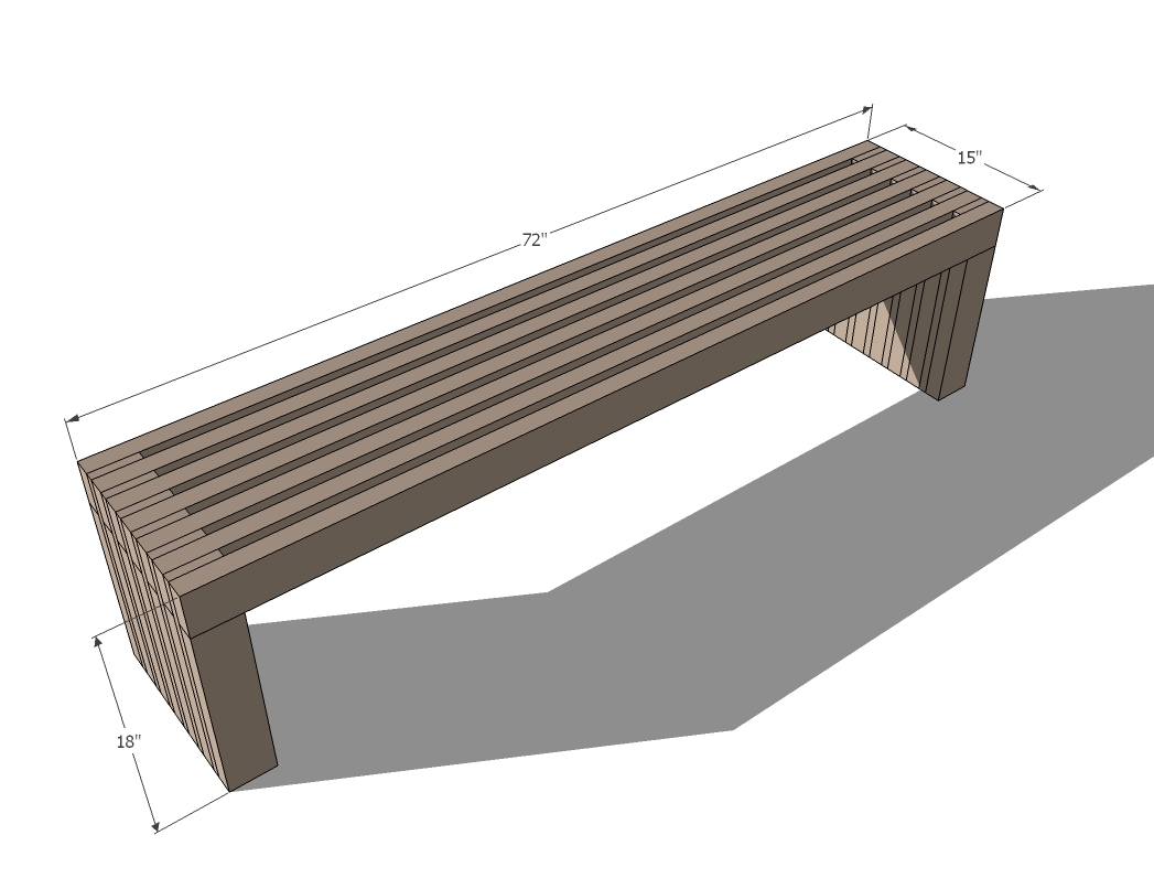 Modern Slat Top Outdoor Wood Bench Ana White