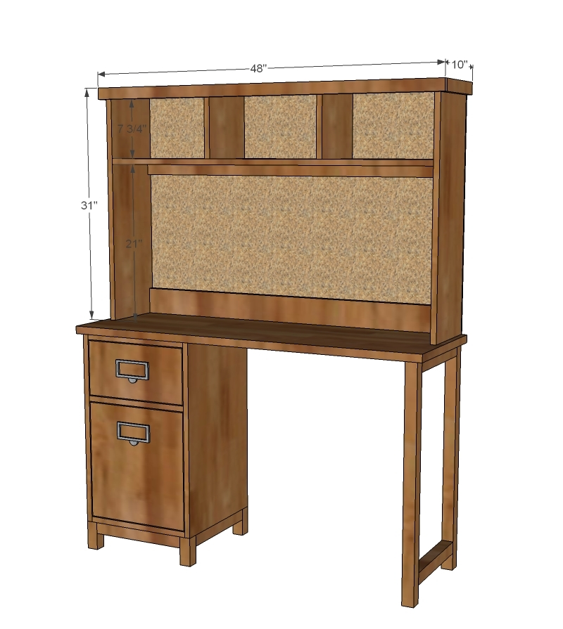 Ana White Schoolhouse Desk Hutch DIY Projects - Computer desk with hutch plans