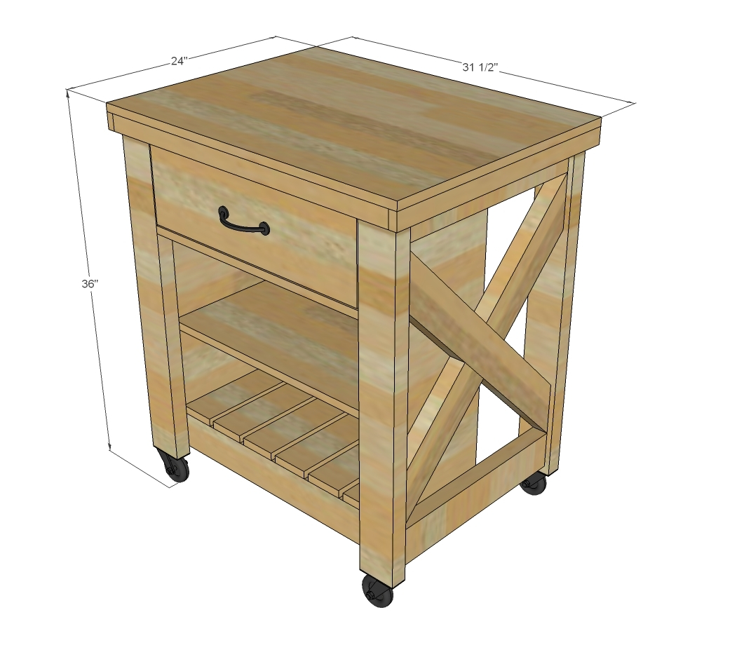 Ana white rustic x small rolling kitchen island diy projects Kitchen island plans