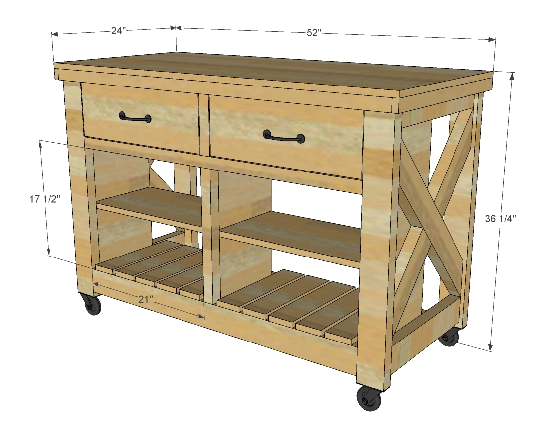 Portable kitchen island designs - Rustic X Kitchen Island Double