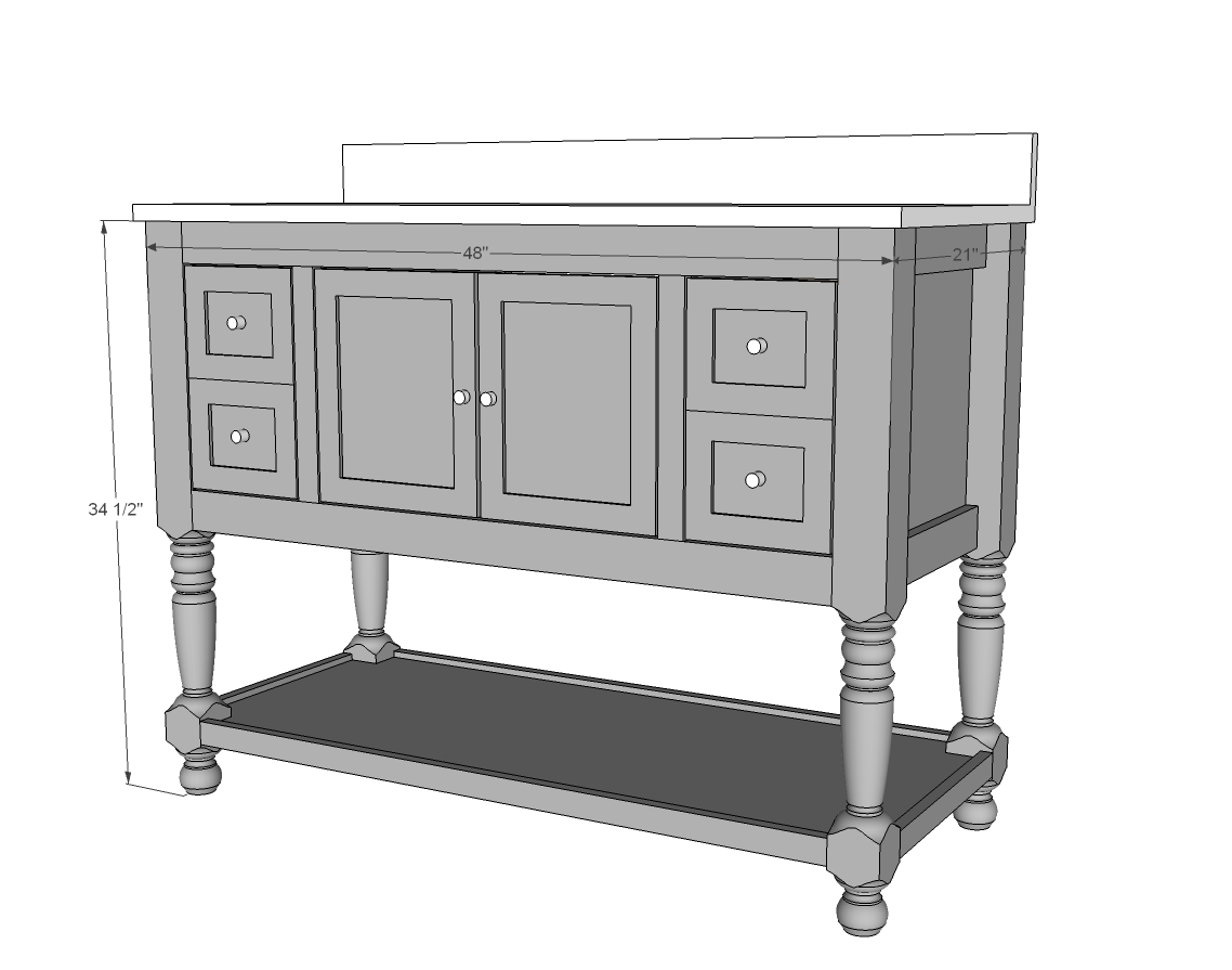 Ana white 48 turned leg vanity diy projects for Bathroom vanity plans