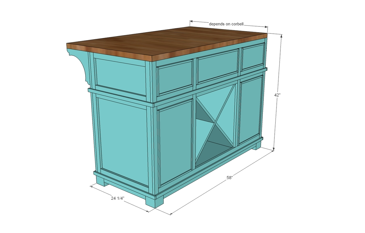Ana white shepard kitchen island diy projects