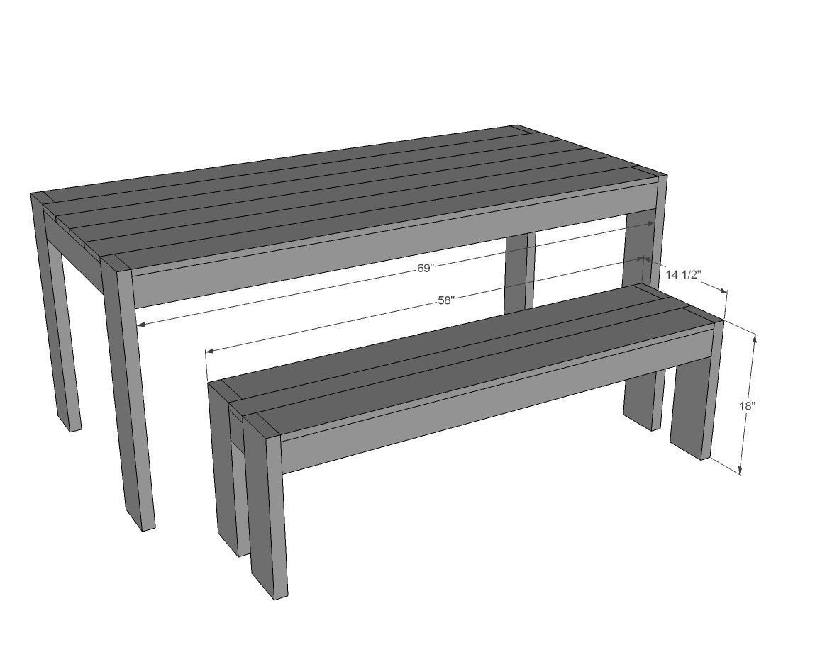 Ana white modern farm bench new updated pocket hole for Table th width not working