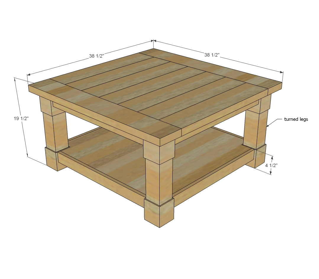 Ana white corona coffee table square diy projects Homemade coffee table plans