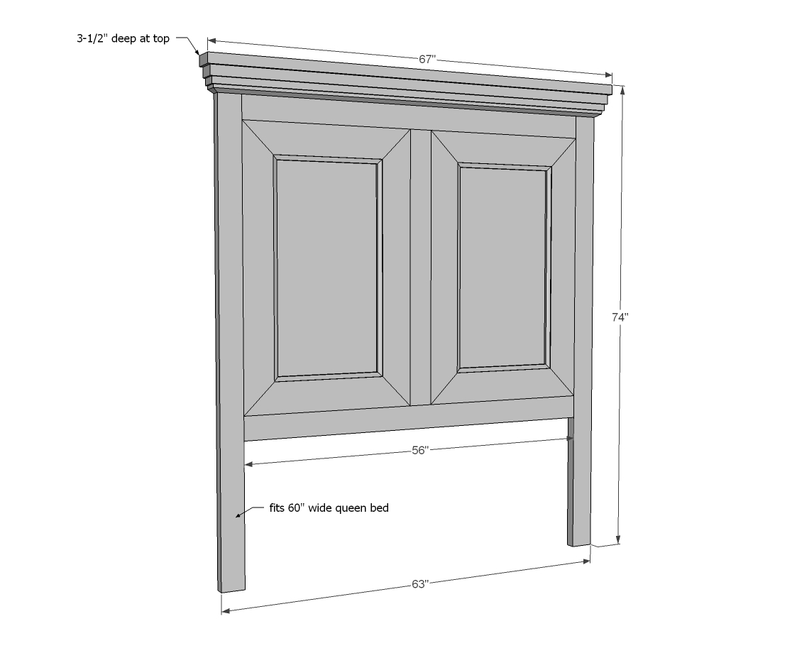 Width Of Queen Bed Ana White Tall Panel Headboard Queen Diy Projects