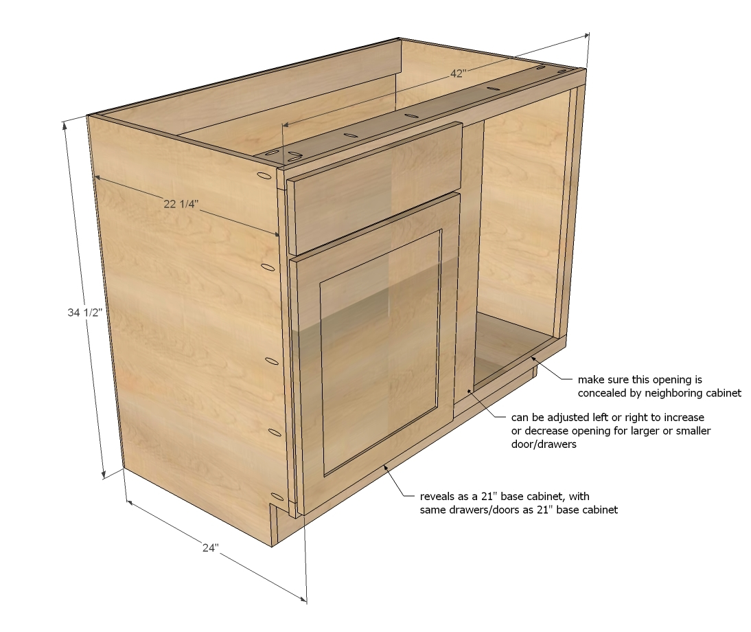 "Kitchen Cabinet Drawings: 42"" Base Blind Corner Cabinet - Momplex"