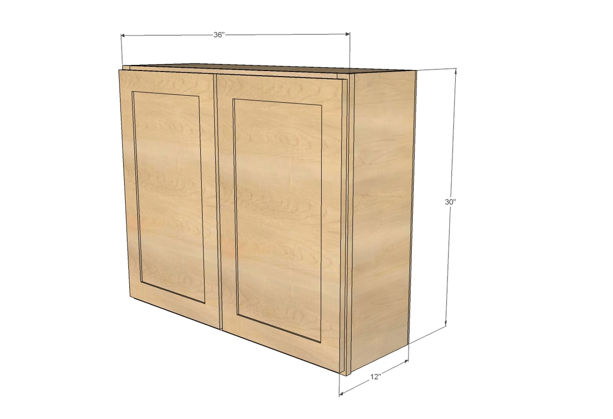 "Kitchen Wall Cabinets Sizes ana white | 36"" wall cabinet, double door - momplex vanilla"