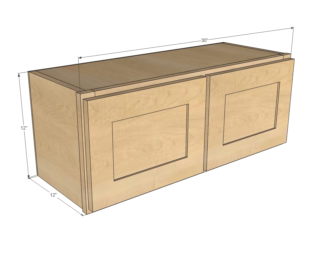 "Kitchen Cabinet Plans Dimensions: 30"" X 12"" Above Range Wall Cabinet"