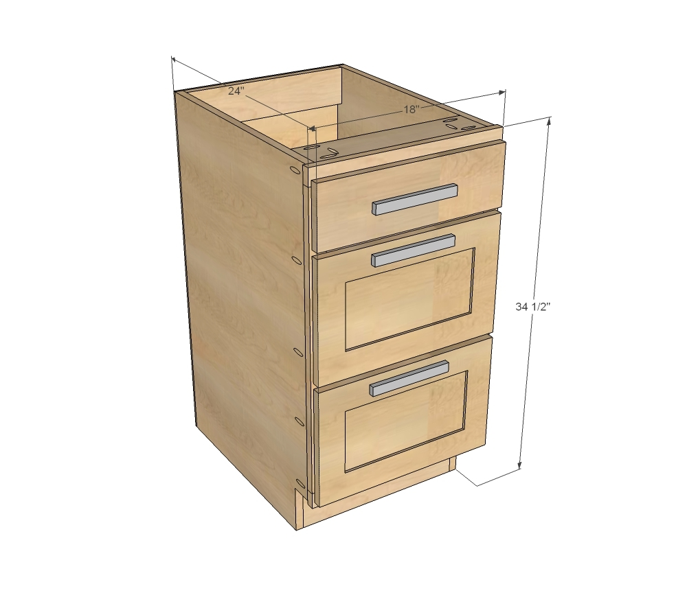 "Kitchen Base Cabinets Dimensions: 18"" Kitchen Cabinet Drawer Base - DIY Projects"