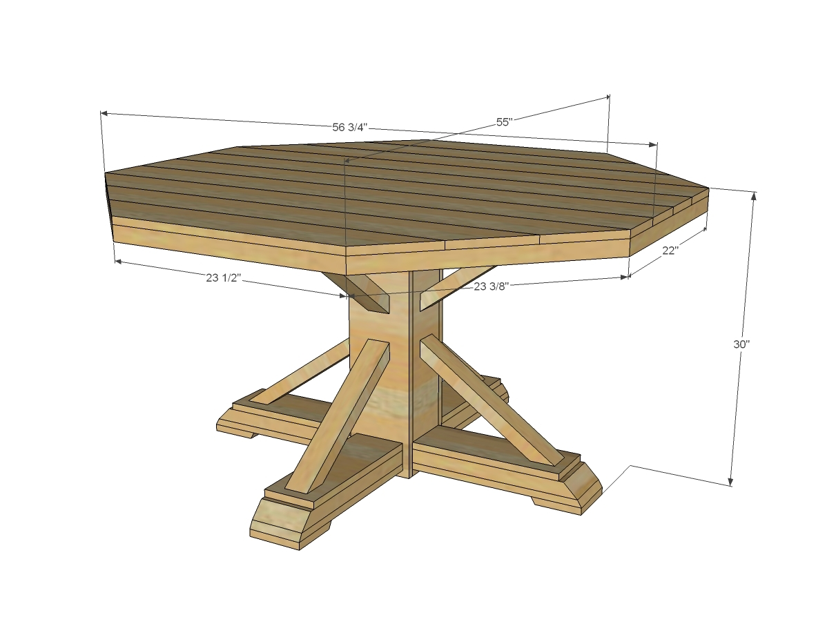 dimensions for round farmhouse table