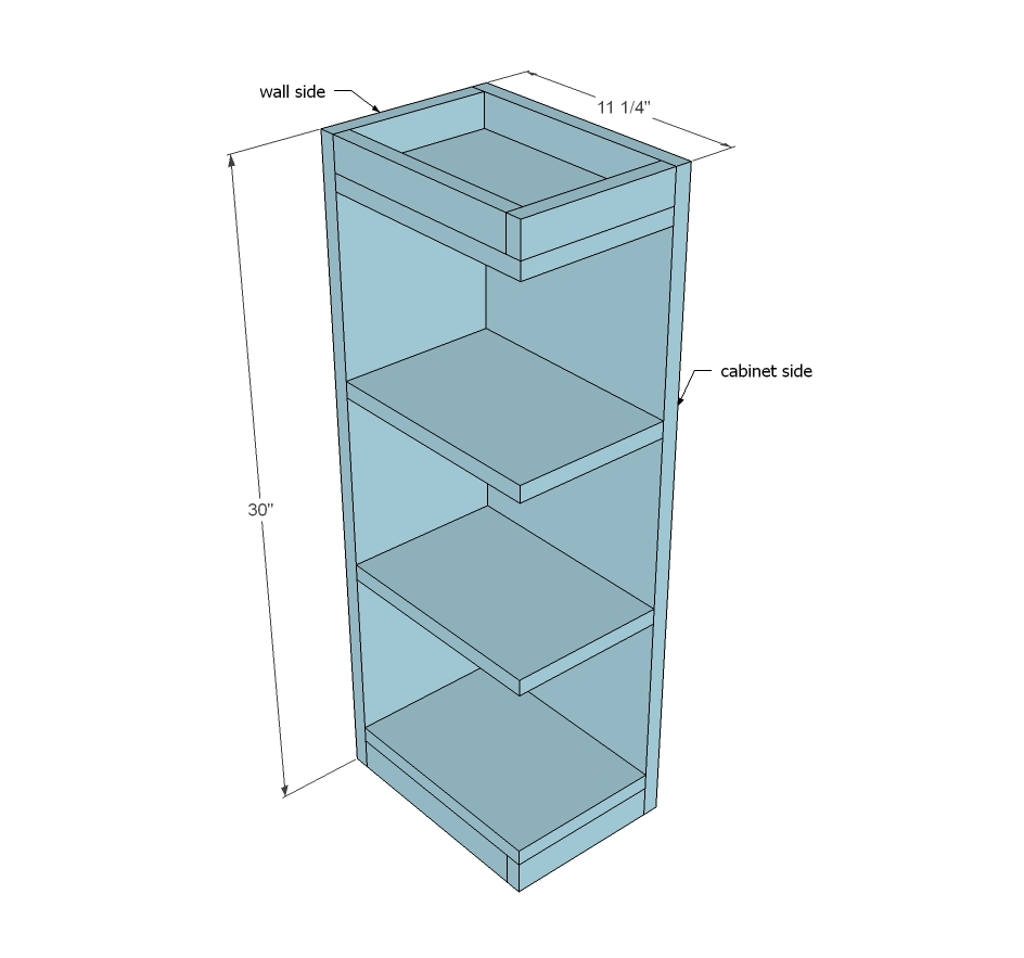 Ana white open shelf end wall cabinet diy projects for Off the shelf cabinets