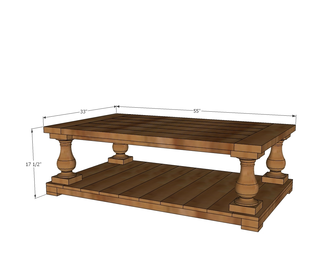 balustrade coffee table dimensions