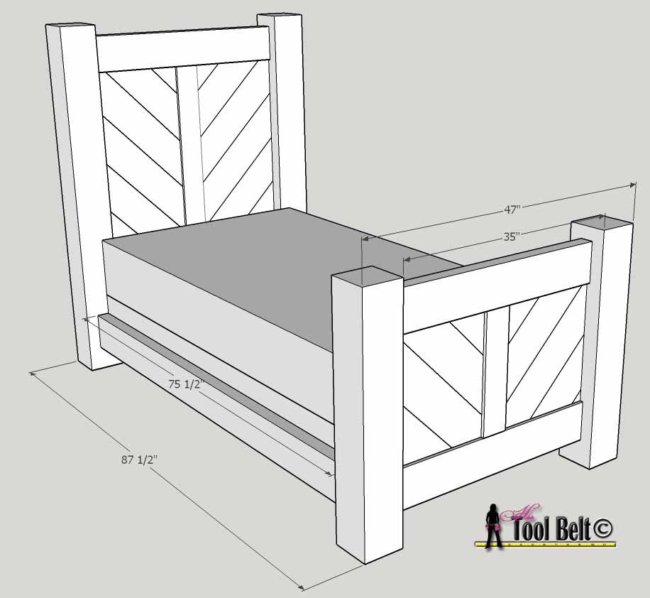 Overall rustic bed plan dimensions