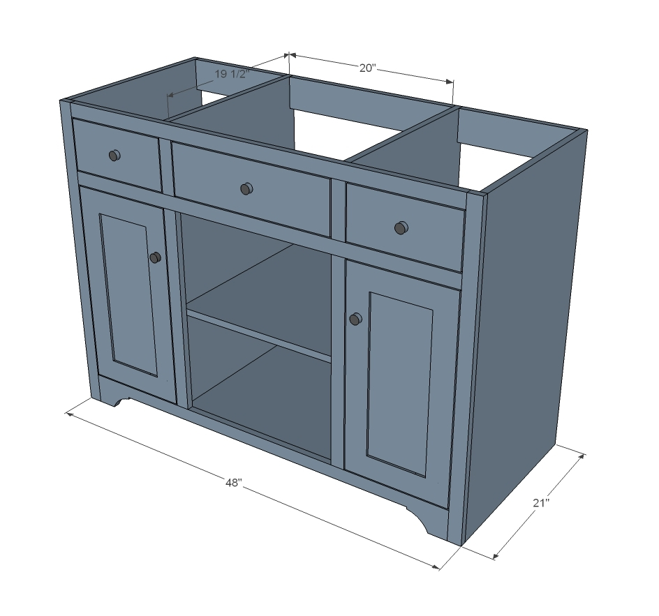 dimensions diagram showing the bathroom vanity
